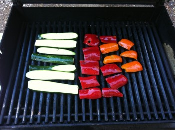 Zucchini and peppers on the grill